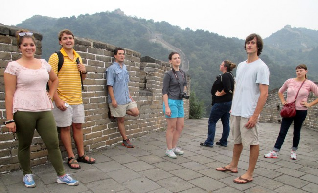 LSU students pose at the Great Wall of China in Beijing