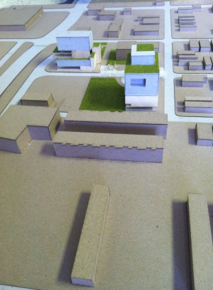 Students presented physical models, plans, and renderings of what the proposals might look like.