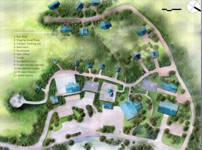 Student Shu Shi's master plan for Toklat River Campsite