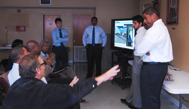Fifth-year Southern University students (left to right) Phung Tran, Kyron Thompson, Chirag Panchal, and Raphael Reed present proposals.