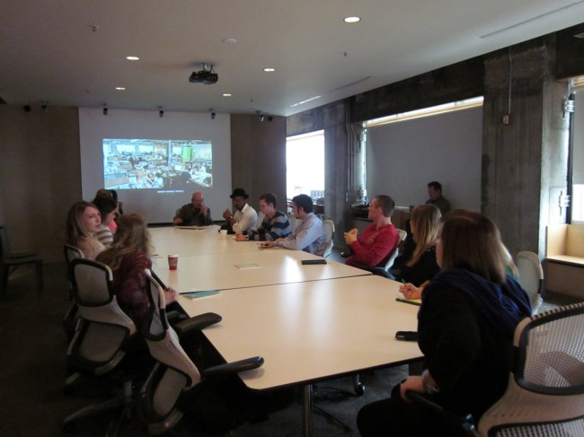 Steve Dumez, partner and director of design, gives a presentation about Eskew+Dumez+Ripple to architecture and interior design students.