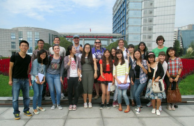 LSU and SAU students pose in front of Sichuan Agricultural University in Chengdu, China
