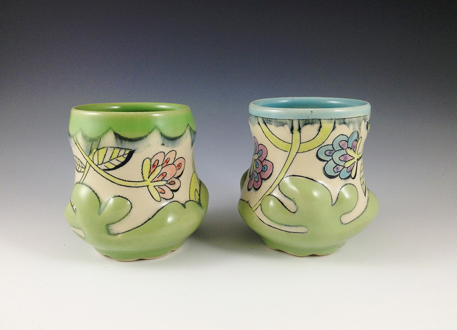 Floral patterned cups, glassell gallery 8 fluid ounces chandra debuse