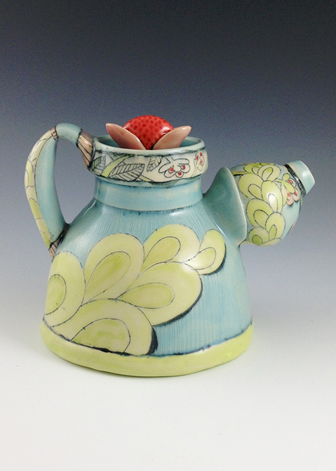 Blue and yellow patterned teapot, glassell gallery 8 fluid ounces chandra debuse