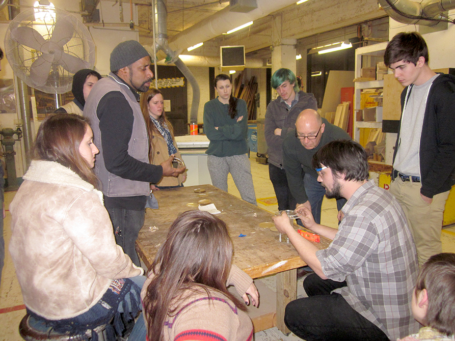 lsu school of art visiting artist nari ward with sculpture students in workshop
