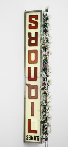 """Sign with """"liquors"""" backward in red lettering, lsu museum of art rooted communities"""