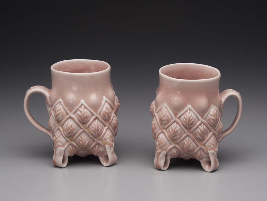 Pale pink mugs with leaf designs, glassell gallery 8 fluid ounces margaret bohles
