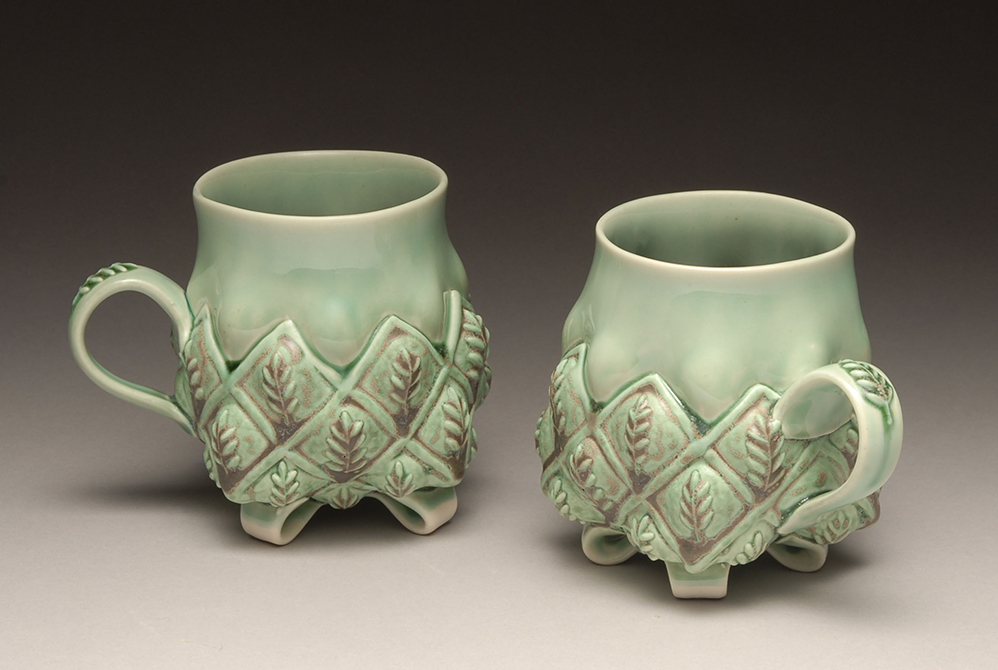 Pale green mugs with leaf designs, glassell gallery 8 fluid ounces margaret bohles