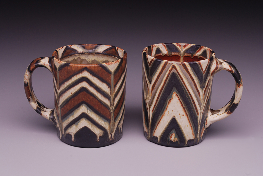 Brown patterned mugs, glassell gallery 8 fluid ounces exhibit by mark cole