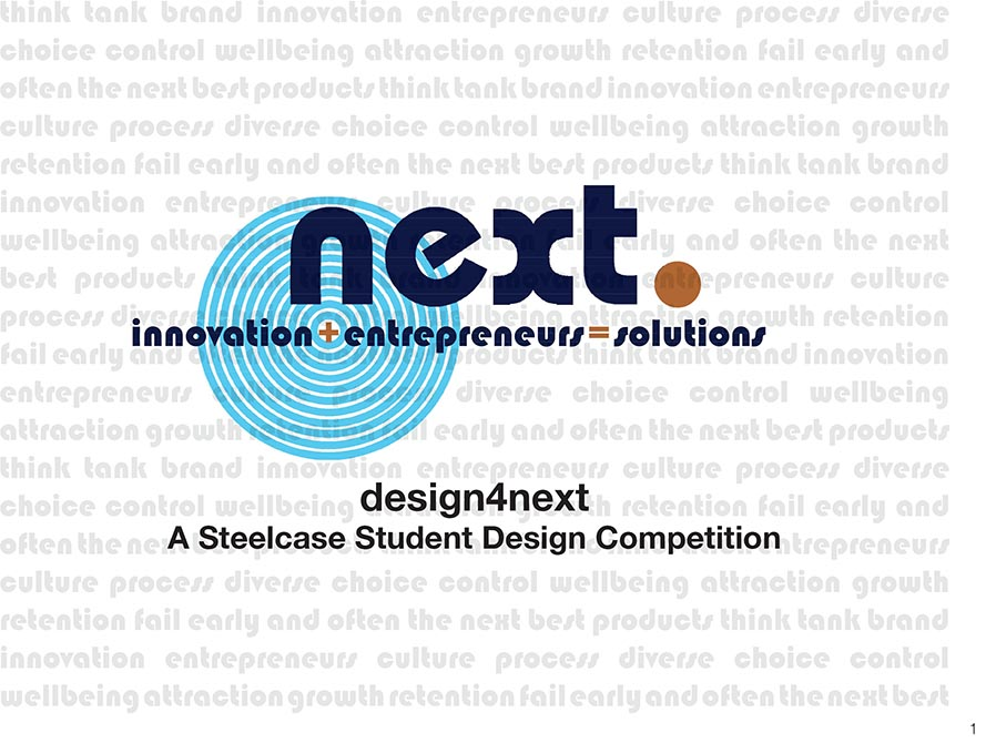Next. Innovation+entrepeneurs=solutions. Design4Next A Steelcase Student Design Competition