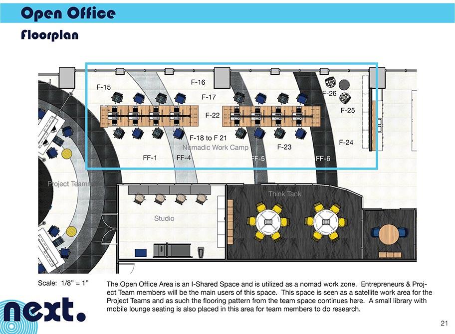 Open concept office area floor plan