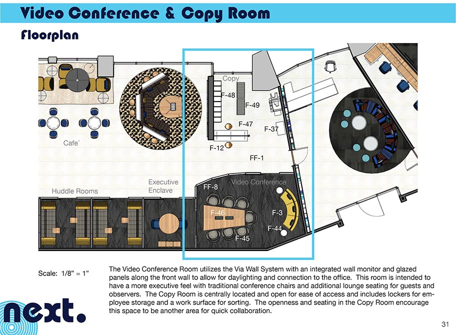 Video conference and copy room floorplan