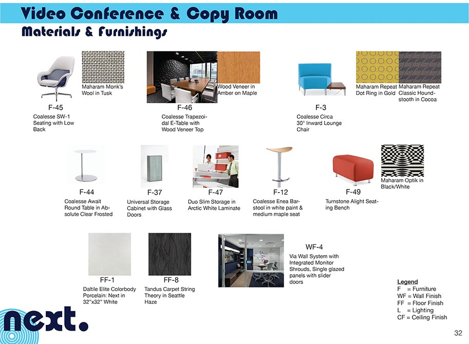 Poster of materials and furnishings for video conference and copy room
