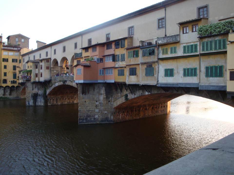 Ponte Vecchio bridge with colorful shops on it