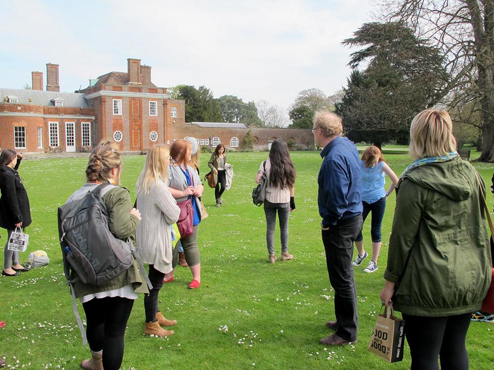 Students walking in Hyde Park, London