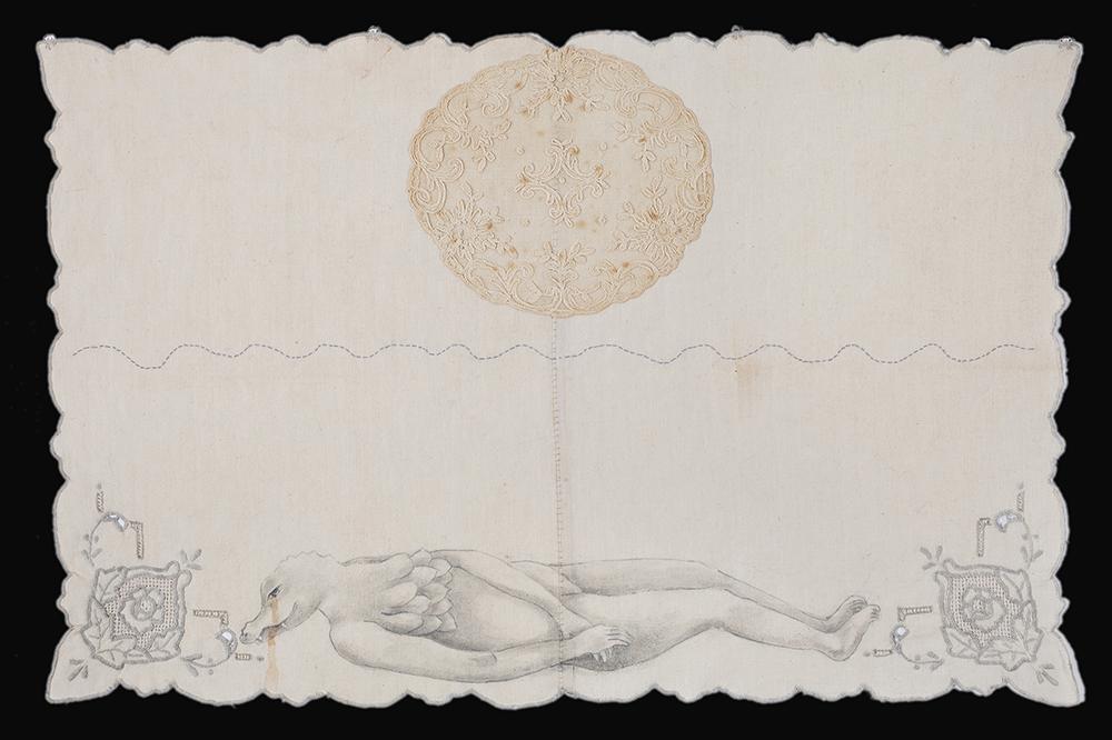 Humanoid animal creature lying on ground, work by Kelli Kelley