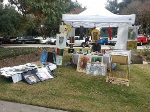 Prints on display at outdoor art sale