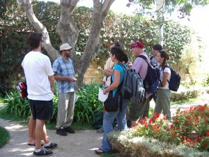 lsu landscape architecture professor bruce sharky speaks to students in garden