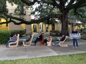 lsu architecture students show off digital fabrication projects: wooden chairs in quad