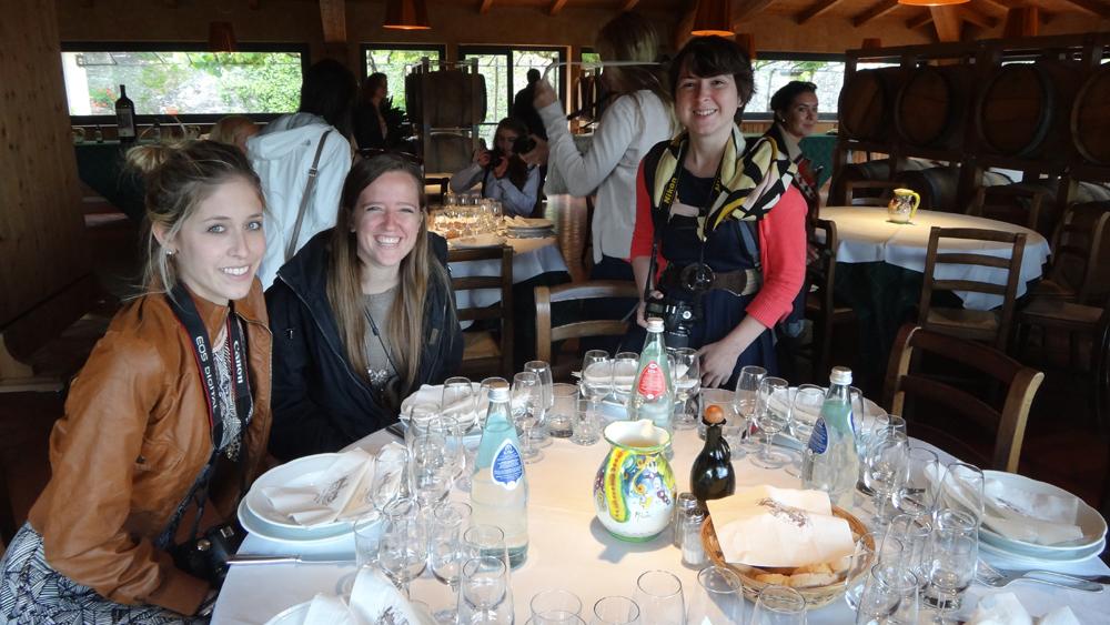 Students in Italian restaurant