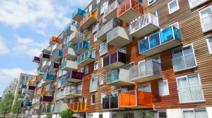 Dutch apartment balconies with colorful glass