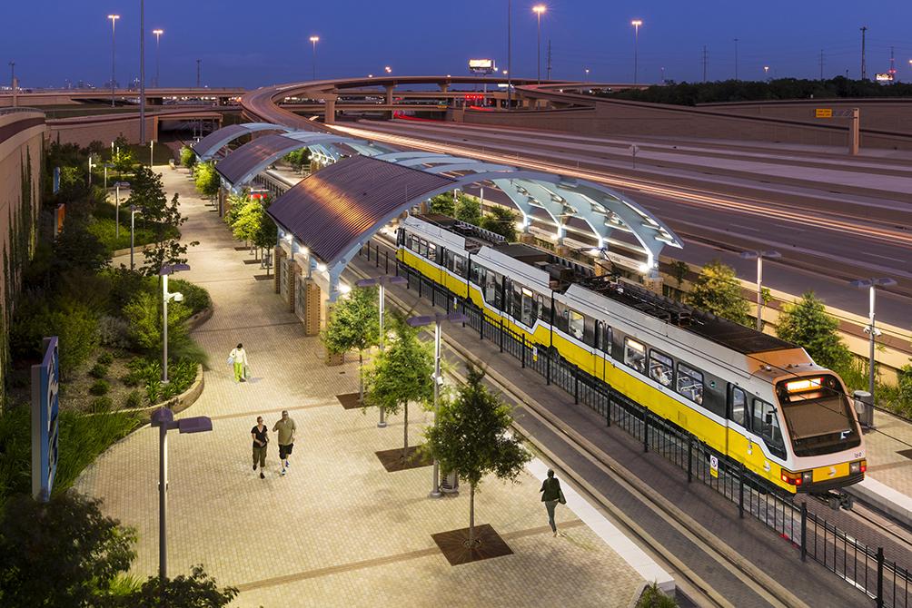 yellow subway train at station, lsu landscape architecture alumni work
