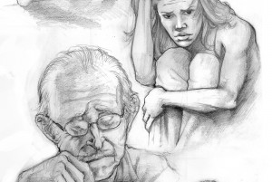 Sketch of old man with glasses, frowning woman. lsu painting and drawing alumni work