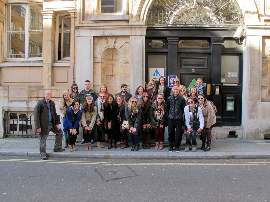 Group of students in European city