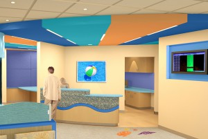 Colorful waiting room design