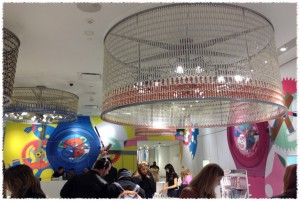 Busy colorful atrium, lsu interior design students visit manhattan
