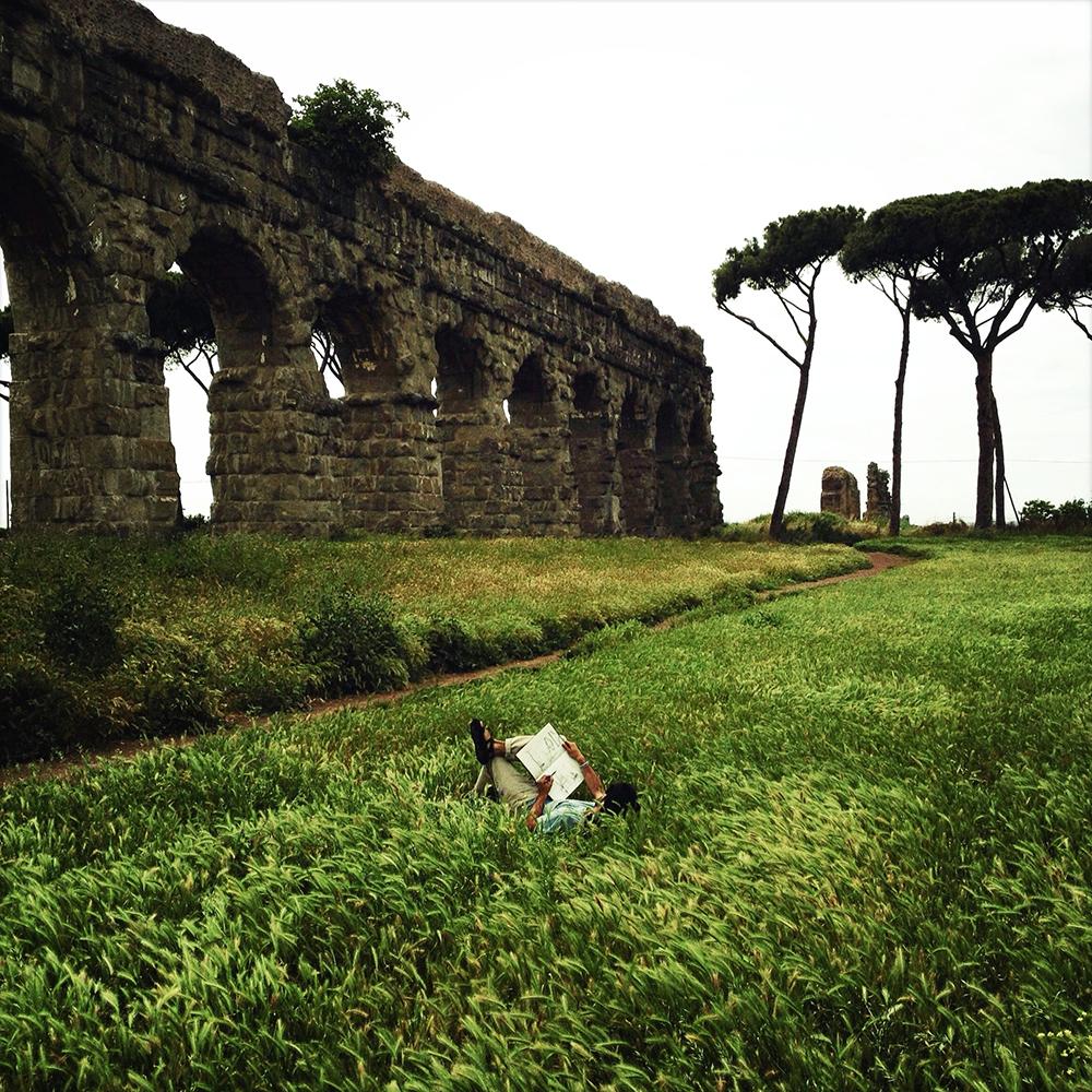 Roman ruins, cyprus trees