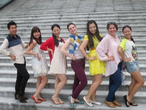 American and Chinese students pose in a row