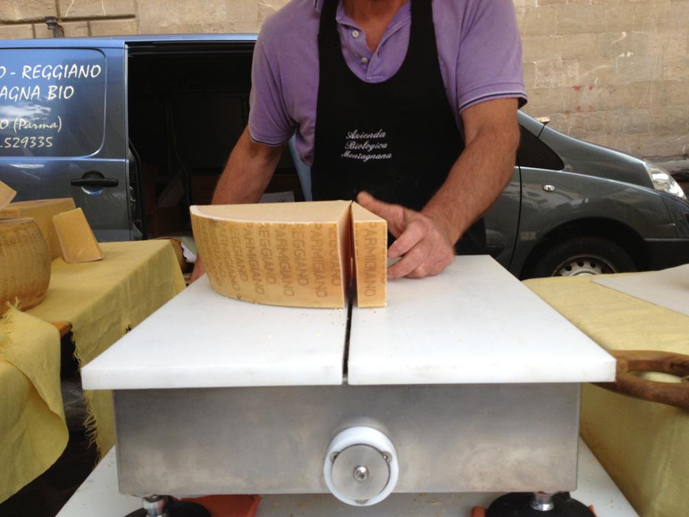 Slicing hunk of cheese