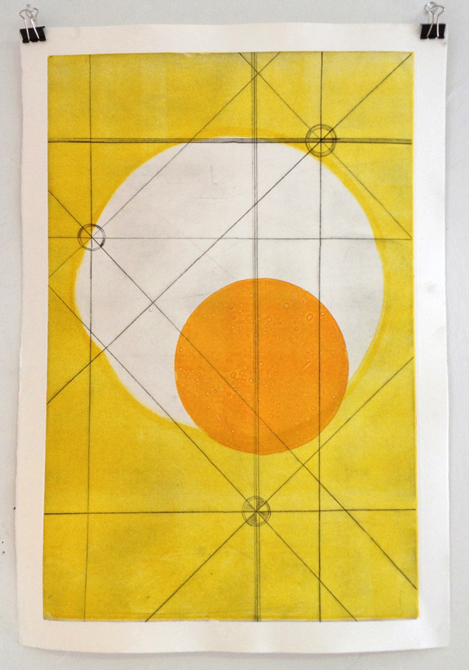 Yellow print with circles
