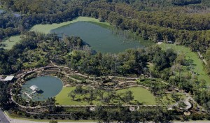 Aerial view of botanical garden with lakes, lsu landscape architecture alumni design