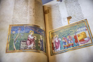 Historic book with colorful illustration
