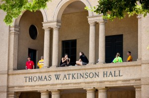 Students on balconies of LSU Atkinson Hall overlooking Quad