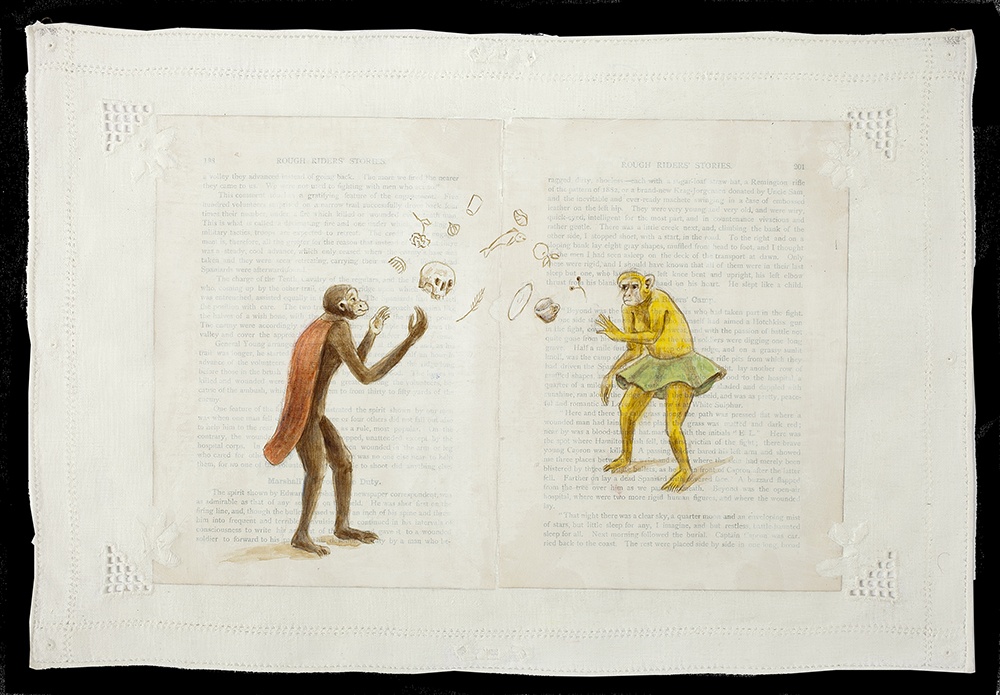 Apes tossing skulls, imposed over book text