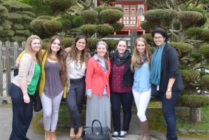 lsu interior design students in Asian-style garden in San Francisco