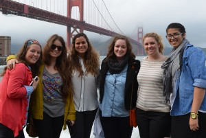 LSU interior design students pose in front of Golden Gate Bridge shrouded in mist