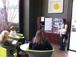 lsu interior design students in steelcase office