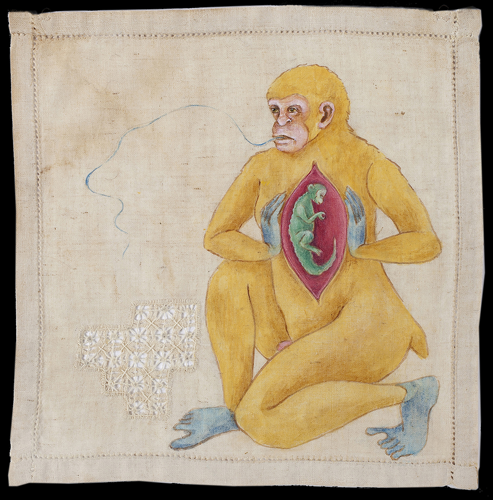 Yellow ape with womb carrying green baby ape in abdomen