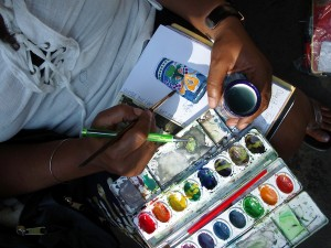 Students develop their skills with watercolor and other medi