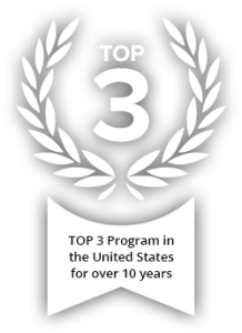 "Laurel leaves framing ""Top 3"" Text: ""TOP 3 Program in the United States for over 10 years"""