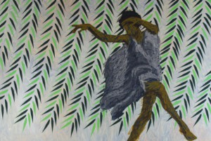 Print of dancer, rows of green leaves in background