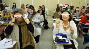 lsu interior design students study impairment, wearing glasses