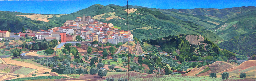 Painting of Italian countryside town, lsu art faculty work