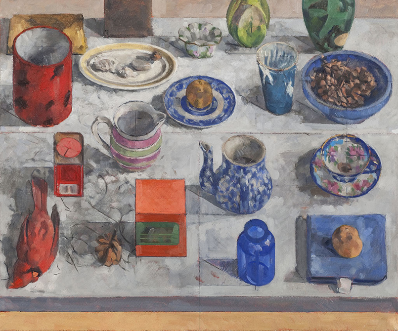 Painting of china on table, lsu art faculty work