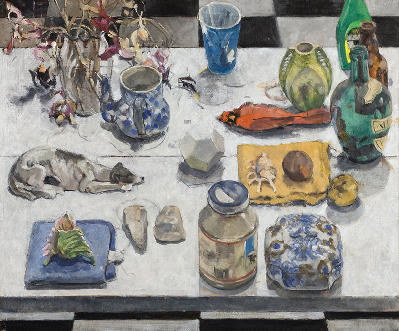 painting of objects on table, lsu art faculty work