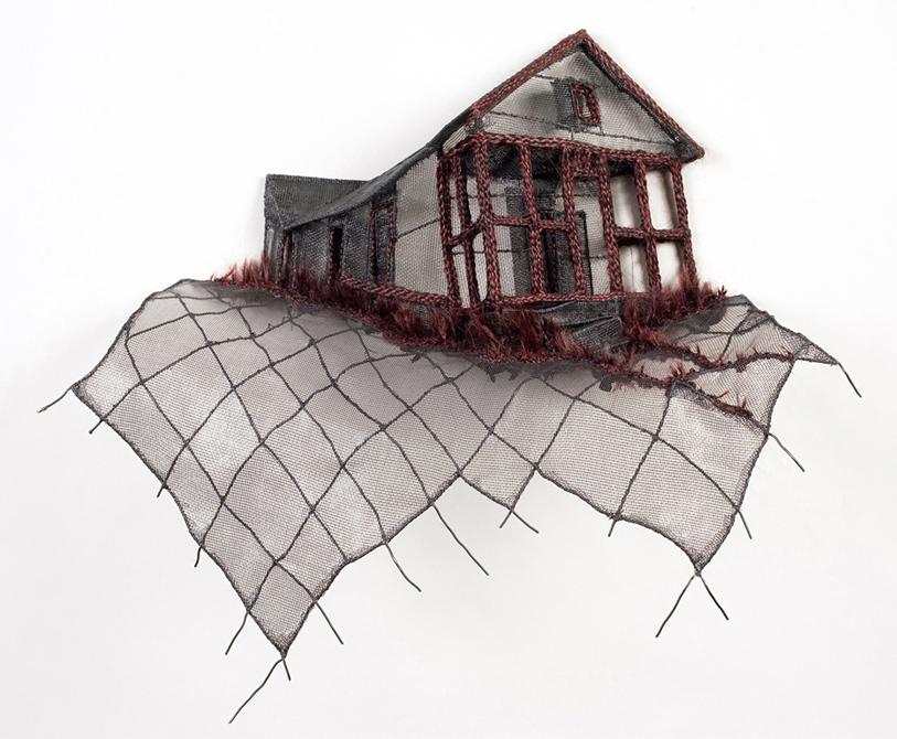 Small house on wire screen, by Loren Schwerd